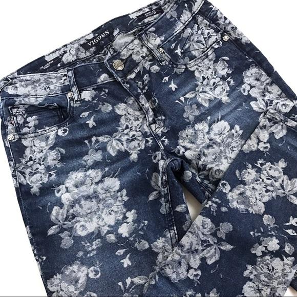 7 NWT VIGOSS woman JAGGER mid-rise FLORAL print SKINNY JEANS Pants size 1 9